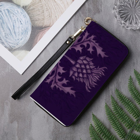Image of Scotland Wallet - Purple Thistle PU Leather Wallet | Long Clutch Purse