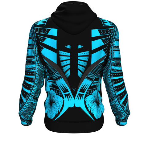 Image of Polynesian Tattoo Hoodie Hibiscus Blue - Back