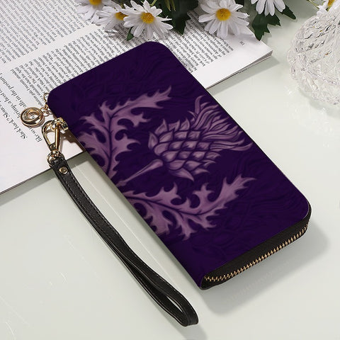 Scotland Wallet - Purple Thistle PU Leather Wallet | Long Clutch Purse