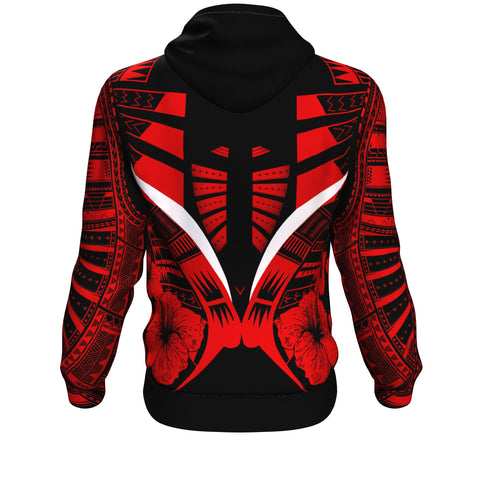 Image of Polynesian Tattoo Hoodie Hibiscus Red - Back