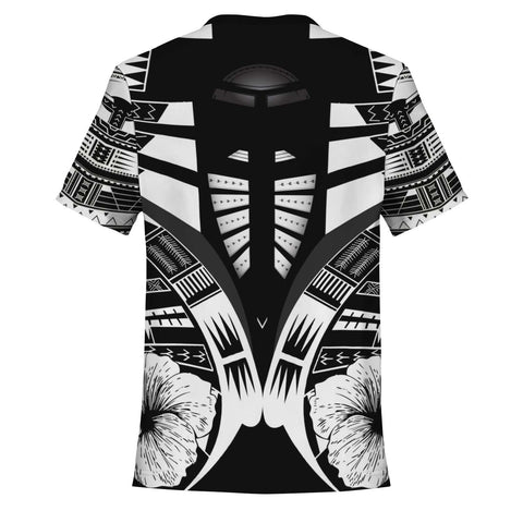 Image of Polynesian Tattoo T Shirt Hibiscus Black White - Back