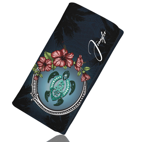 (Custom)  Kanaka Maoli (Hawaiian) Wallet Women - Polynesian Ohana Turtle Hibiscus Mother Son Personal Signature  A24