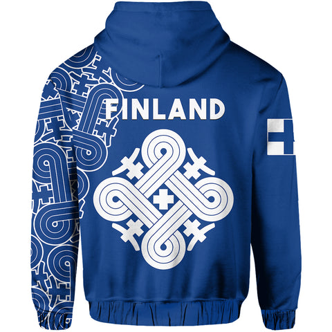 Image of Finland Zip Up Hoodie Hannunvaakuna Finnish Tattoo back | Love The World | Clothing