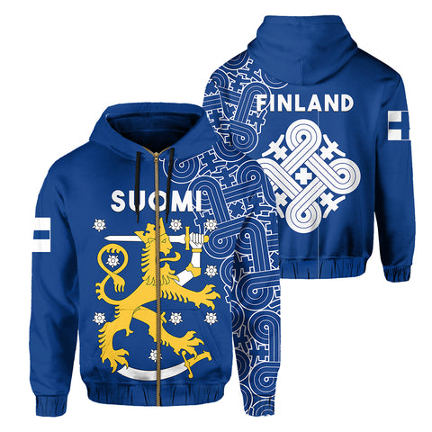 Image of Finland Zip Up Hoodie Hannunvaakuna Finnish Tattoo front and back| Love The World | Clothing