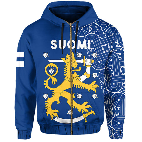Image of Finland Zip Up Hoodie Hannunvaakuna Finnish Tattoo front | Love The World | Clothing