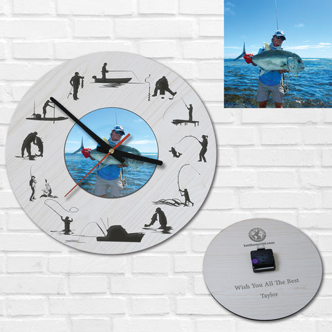 Fishing Wooden Wall Clock Personalised - Gifts for Fisherman