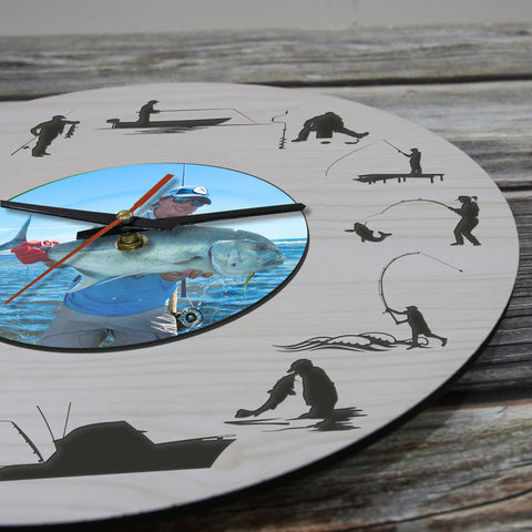 Fishing Wooden Wall Clock Personalised - Gifts for Fisherman - BN10