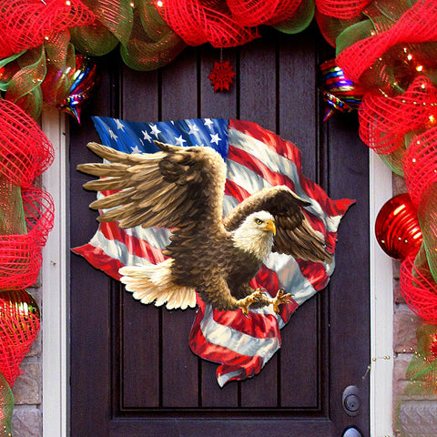 American Flag Decor - 4th of July Decor - American Liberty Eagle Wall and Door Hanger A7