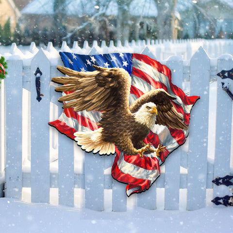 Image of American Flag Decor - 4th of July Decor - American Liberty Eagle Wall and Door Hanger A7