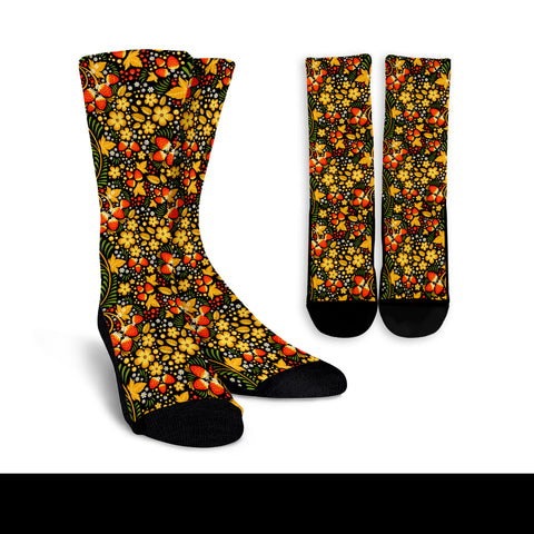 (Custom) Russian Khokhloma Royalty Socks - Khokhloma Strawberries Pattern BN21