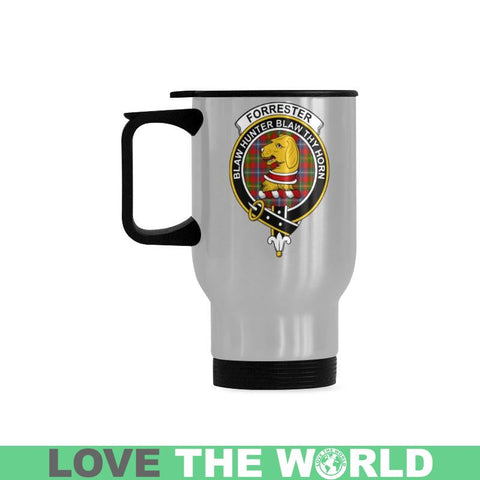 Image of Forrester Tartan Clan Badge Travel Mug (Silver) | 1sttheworld.com
