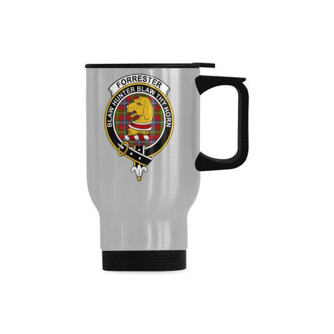 Forrester Tartan Clan Badge Travel Mug (Silver) | 1sttheworld.com