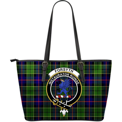 Forsyth Modern Tartan Handbag - Clan Badge Large Leather Tartan Bag