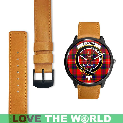 Fraser Modern Clan Badge Tartan Leather/steel Watch - NN5 Mens 40Mm / Brown Leather-Steel Watches