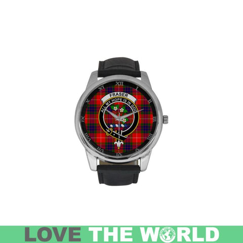 Fraser Modern Tartan Clan Badge Watch Th2 One Size / Golden Leather Strap Watch Luxury Watches