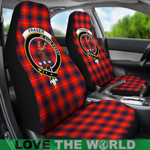 Image of Fraser Of Lovat Clan Badges Tartan Car Seat Cover Ha5