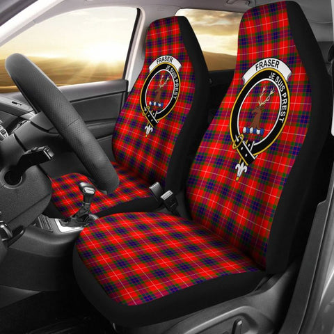 Image of Fraser Of Lovat Tartan Car Seat Cover - Clan Badge