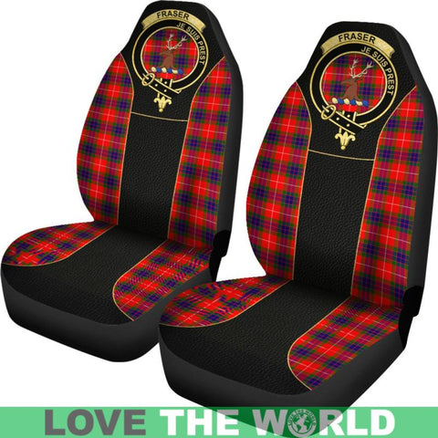 Image of Fraser (Of Lovat) Tartan Clan Badge Golden Car Seat Covers Dm1