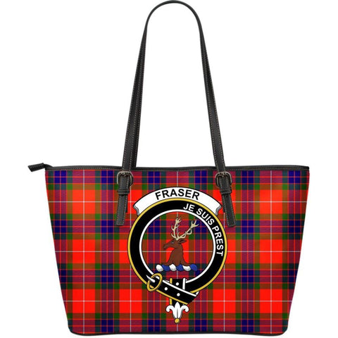 Fraser Of Lovat Tartan Handbag - Clan Badge Large Leather Tartan Bag