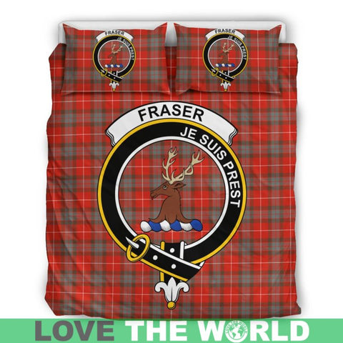 Fraser Of Lovat Weathered Tartan Clan Badge Bedding Set Th1 Bedding Set - Black Black / Queen/full