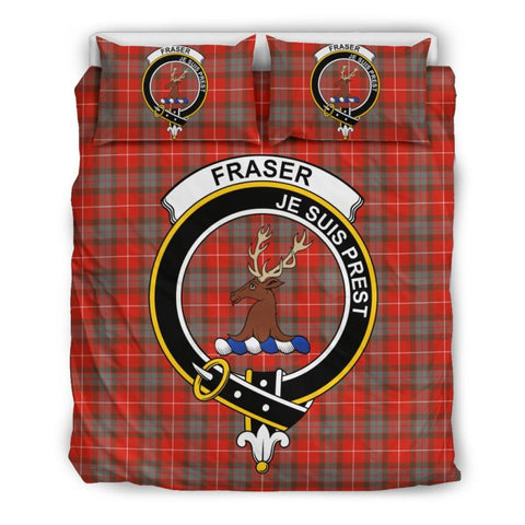 Fraser Of Lovat Weathered Clan Badge Tartan Bedding Set Th1 Bedding Set - Black Black / Queen/full