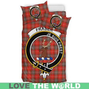 Fraser Of Lovat Weathered Clan Badge Tartan Bedding Set K7