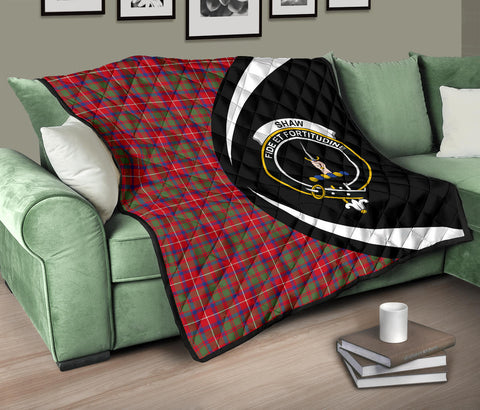 Image of Shaw Red Modern Tartan Premium Quilt Circle Style Hj4