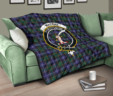 Image of MacRae Hunting Modern Tartan Clan Badge Premium Quilt TH8