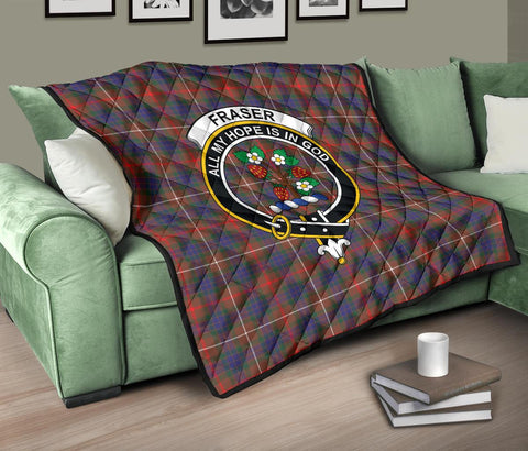 Fraser Hunting Modern Tartan Clan Badge Premium Quilt TH8
