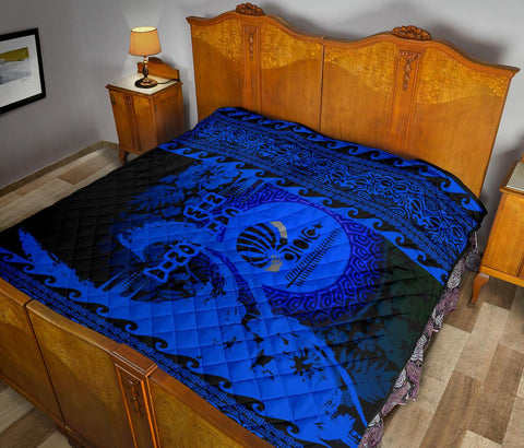 Image of New Caledonia Quilt Wave Blue Design K62