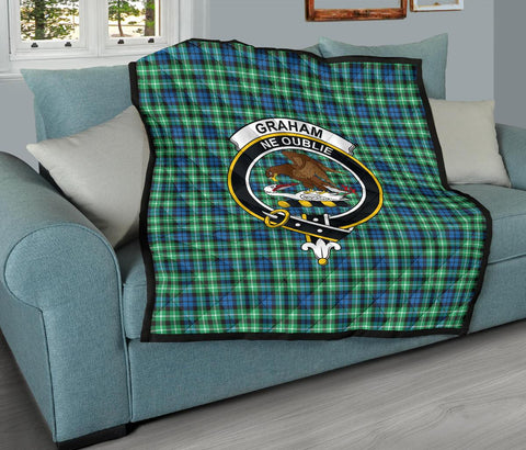 Image of Graham of Montrose Ancient Tartan Clan Badge Premium Quilt TH8