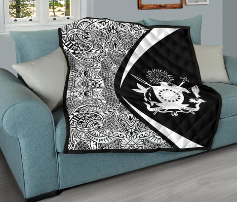 Image of Cook Islands Coat Of Arms Polynesian Premium Quilt - Circle Style - 01 J2