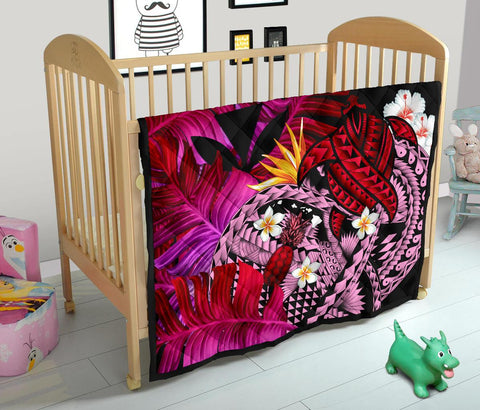 Image of Kanaka Maoli (Hawaiian) Premium Quilt, Polynesian Pineapple Banana Leaves Turtle Tattoo Pink
