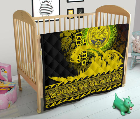 Image of Marshall Island Quilt Wave Yellow Design K62