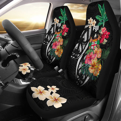 Fiji Car Seat Covers Coat Of Arms Polynesian With Hibiscus-2