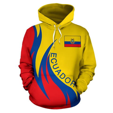 Image of Ecuador Hoodie Coat Of Arms Fire Style