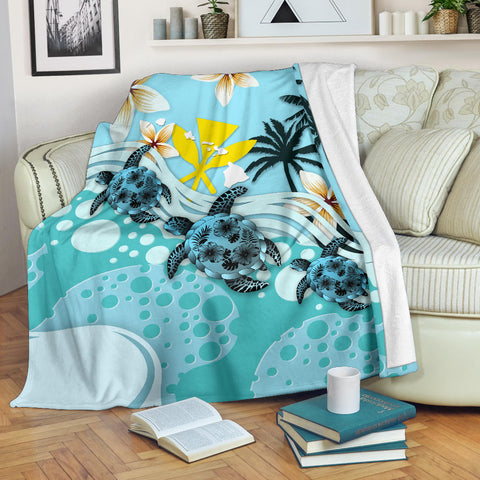 Image of Hawaii Premium Blanket - Blue Turtle Hibiscus | Love The World