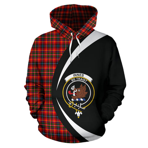 (Custom your text) Innes Modern Tartan Circle Hoodie
