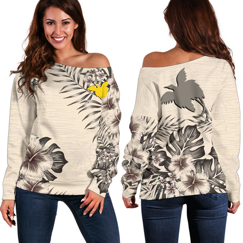 Papua New Guinea The Beige Hibiscus Off Shoulder Sweater A7