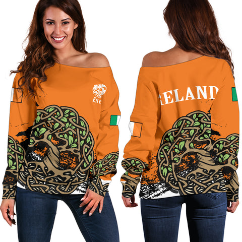 Celtic Tree Of Life Women's Off Shoulder Sweater Orange Version | Special Custom Design