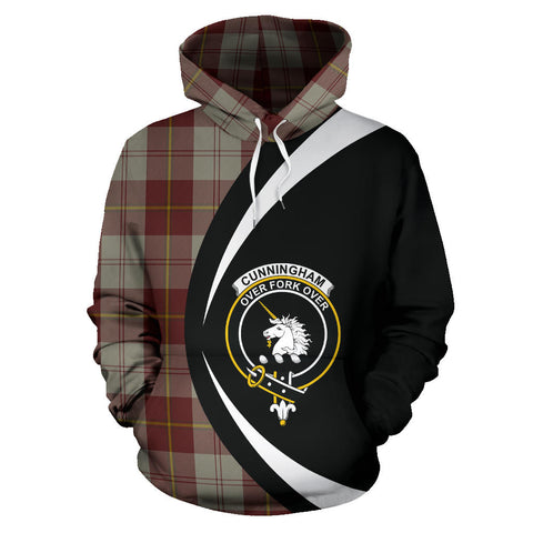 (Custom your text) Cunningham Burgundy Dancers Tartan Circle Hoodie
