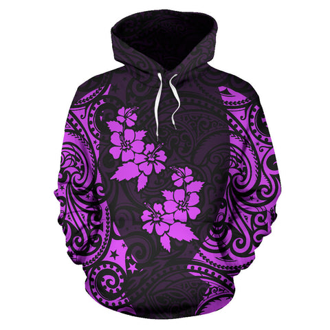 Image of Hawaii Hoodie Polynesian Hibiscus Purple