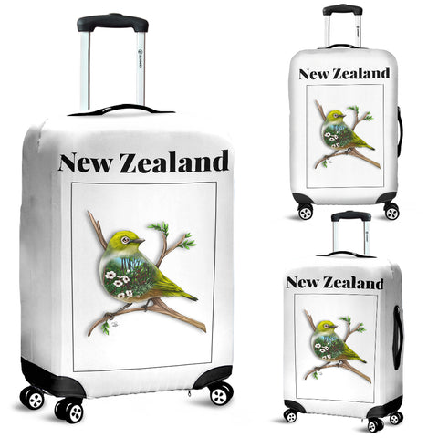 New Zealand Silver Eye Luggage Cover - new zealand birds, new zealand silver eye, luggage cover, suitcase covers, accessories, online shopping