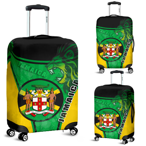 Jamaica Lion Luggage Covers Circle Stripes Flag Version | 1sttheworld