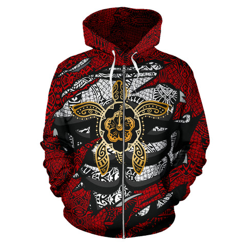 Image of Hawaii Turtle and Hibiscus Polynesian Tribal Hoodie All Over Zip-Up Hoodie