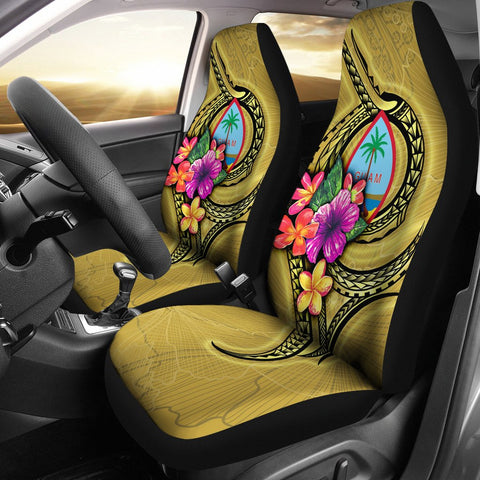 Guam Polynesian Car Seat Covers - Floral With Seal Gold