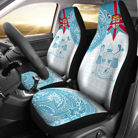 Fiji Polynesian Car Seat Covers - Fiji Flag with Coat of Arms