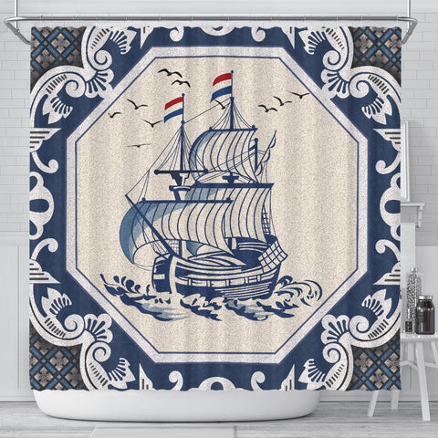 Netherland Shower Curtain - Dutch Boat Delft Blue