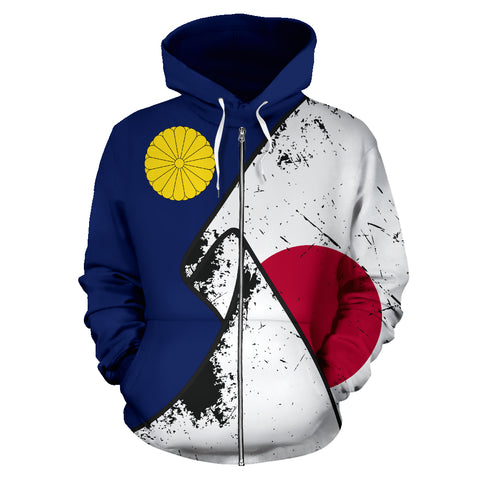 Japan Special Grunge Flag Zip-Up Hoodie A02