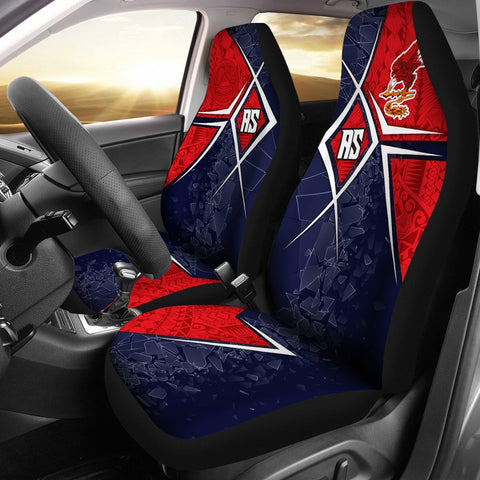 American Samoa Car Seat Covers - AS Flag with Polynesian Patterns